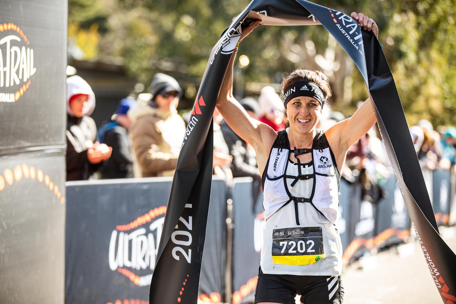 Ruth Croft winning the UTA50